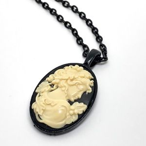 Jewelry - Black Enamel Cameo Pendant Necklace